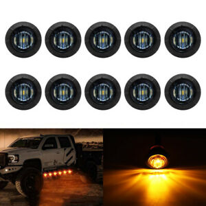10x 3 4 Bullet Round Smoked Amber Led Side Marker Lights For Boat Trailer Truck