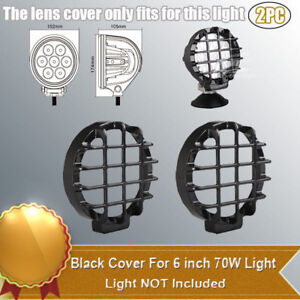 2x Snap On Black Stone Guard Cover For 6 Inch 70w Round Led Work Light Suv 4wd