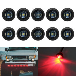 10x 3 4 Bullet Round Smoked Red 3 Led Side Marker Lights For Boat Trailer Truck