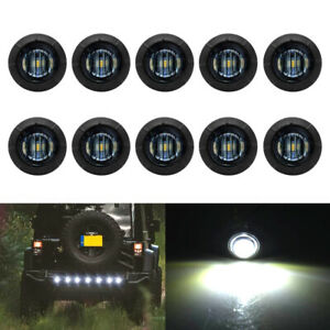 10x 3 4 Bullet Round Smoked White Led Side Marker Lights For Boat Trailer Truck