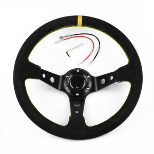 Us Blue 14 350mm Deep Steering Wheel With Suede Leather Drifting 6 Bolt
