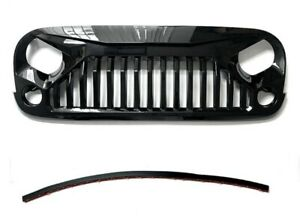 Replacement For Jeep Wrangler Jk Gladiator Style Gloss Black Abs Grille Grill