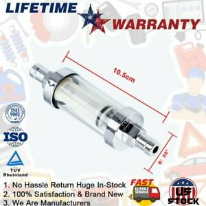 Universal 3 8 5 16 1 4 Fittings Gas Glass Chrome Reusable Inline Fuel Filter