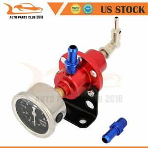 Universal Fuel Pressure Regulator Fpr With Gauge Gunmetal Red High Quality