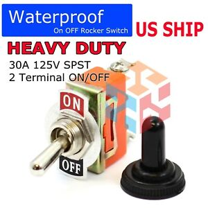 Toggle Switch Heavy Duty 20a 125v Spst 2 Terminal On off Car Waterproof Atv Usa