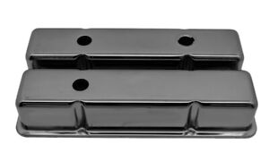 58 86 Chevy Sm Bloc 283 305 327 350 400 Tall Smooth Valve Covers Black Chrome