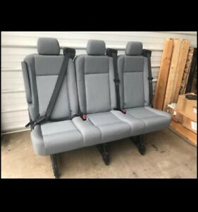 Ford Transit 150 250 350 3 Passenger Gray Cloth With Tilt Bench Seat With Rails