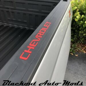 Red Bed Rail Letter Inserts 2014 2018 Chevy Silverado Truck Bed Letters