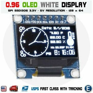 0 96 Spi Serial 128x64 Oled Lcd Led Display Module 128 64 White Ssd1306 Arduino