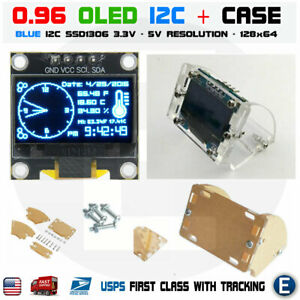 0 96 I2c Iic 128x64 Oled Lcd Led Blue Color Ssd1306 Transparent Case Arduino