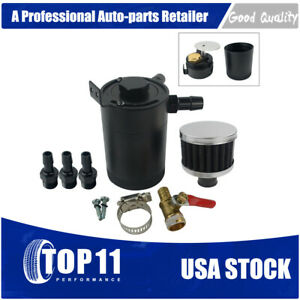 Universal Oil Catch Can Tank 2 Port Baffled Reservoir With Drain Valve Breather