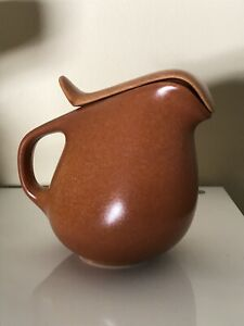 Roseville Raymor Terra Cotta Creamer with Lid No. 158 Ben Seibel