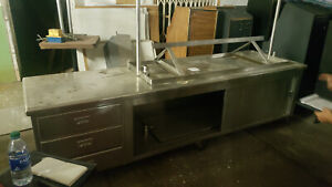 Large Stainless Steel Prep Table 10ft W storage Cabinet