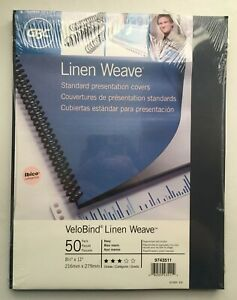 Gbc Velobind Linen Weave Standard Presentation Covers Pre punched 50 Pack Navy