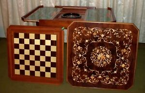 Italian Inlaid Wood Multi Game Table With Roulette Checkers Chess Backgammon