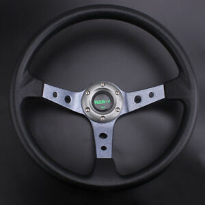 6 Bolt Racing Us 350mm 14 95mm Deep Dish Steering Wheel Pu Leather Horn Button