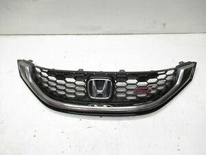 2013 2015 Honda Civic Si Fwd Front Bumper Grill Grille With Emblem Chrome Oem