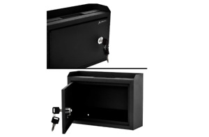 Suggestion Box Slot Lock Drop Steel Safe Letter Cash Mail Mount Donation Charity