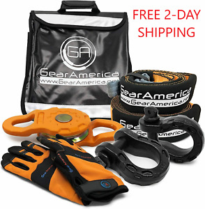 Gearamerica Off Road Recovery Mega Kit Tow Straps Snatch Block Bow Shackles