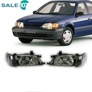 Fits For 95 99 Toyota Tercel Headlights Lamps Black Clear Lens Pair Left Right