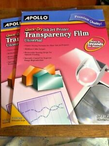 2 Apollo Transparency Film For Inkjet Printers Universal Quick Dry 50 Sheets