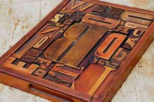 Unique Collage Composition Letterpress Wood Type Characters Drawer Printing Rare