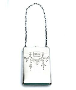 Vtg Art Deco W Sterling Silver 1924 Compact Coin Card Case With Mirror Chain