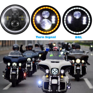 Round 7 Motorcycle Projector Motor Halo Hid Led Light Bulb Headlight For Harley