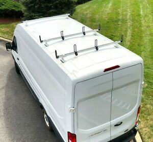 Heavy Duty 3 Bar Ladder Roof Rack Fits Ford Transit Cargo Van High Roof White