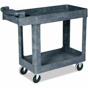 Durable Plastic Utility Service Cart 550 Lbs Capacity 2 Shelves Rolling