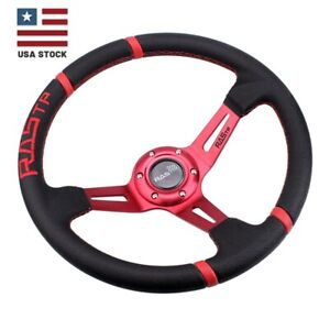 Us Rastp Deep Dish Drifting Sport Steering Wheel Leather Surface Racing 14 Red