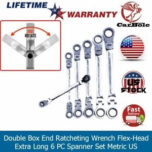 Double Box End Ratcheting Wrench Flex Head Extra Long 6 Pc Spanner Set Metric Us