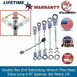Double Box End Ratcheting Wrench Flex head Normal Long 6 Pc Spanner Set Metric
