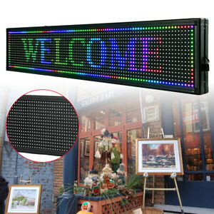 Led Sign Seven color 40 X 8 Inch Programmable Scrolling Message Display Usa