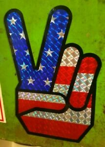 American Flag Peace Sign Prismatic Sticker Hot Rod Vintage Look Drag Race 60s 70