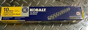 Kobalt 99515 10pc Sae 1 2 Drive Socket Set W cliprail Usa Williams Snap On Nib