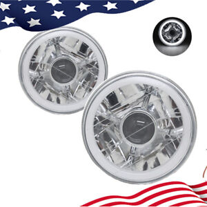 5 Inch Round Led White Halo Chrome Clear Lens Projector Headlights Angel Eye