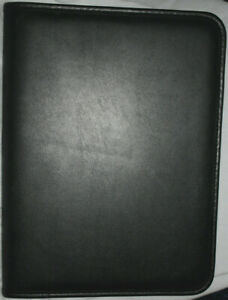 used Black Faux Leather Portfolio Notepad Business Card Note Holder