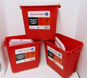 3 Sharps Container 2 Gallon Biohazard Needle Disposal Doctor Tattoo Dynarex