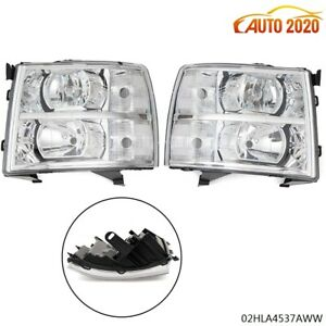 Fit 07 14 Chevy Silverado Chrome Housing Clear Corner Headlight Replacement Lamp