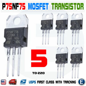 5pcs Stp75nf75 P75nf75 Power Mosfet Transistor To 220 80a 75v N channel Usa