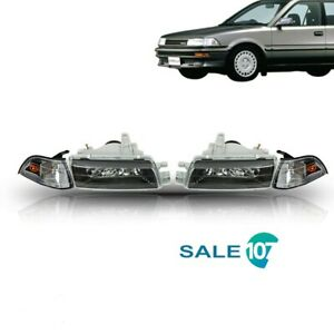 Fits For 1988 1992 Toyota Corolla Black Headlights Headlamps Ae92 93 94 E90 Ee90