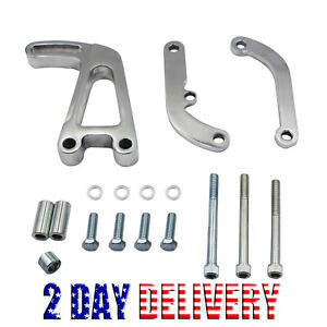 Polished Aluminum Power Steering Bracket For Sbc Chevy Long Water Pump 350 Lwp