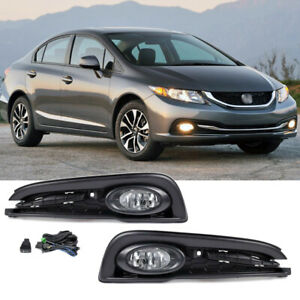 For 2013 2015 Honda Civic 4dr Sedan Front Fog Lights Lamps Covers W Switch
