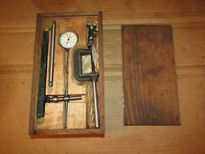 Vintage L s Starrett No 196a Dial Test Indicator Set In Wooden Case Collector
