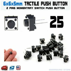 25pcs 6x6x5mm 2 Pin Pcb Momentary Tactile Tact Push Button Switch Dip Micro