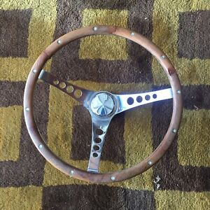 Vintage Wood And Chrome Steering Wheel 1970s Hot Rod Van Boat