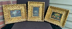 3 Old Still Life Oil Paintings Gilt Wood Frames From Florentia Made In Spain