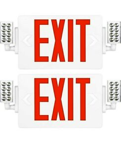 2 Pack ultra Slim Red Exit Sign 120 277v Double Face Led Combo Emergency Light