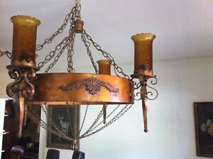 Vintage Spanish Revival 4 Light Chandelier With Globes Professionally Rewired
